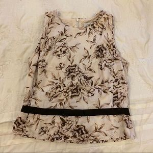 Ann Taylor brown/cream floral sleeveless blouse